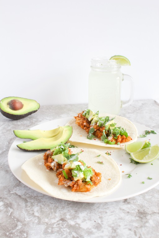 Vegan Lentil Cauliflower Tacos on Plate with Avocado