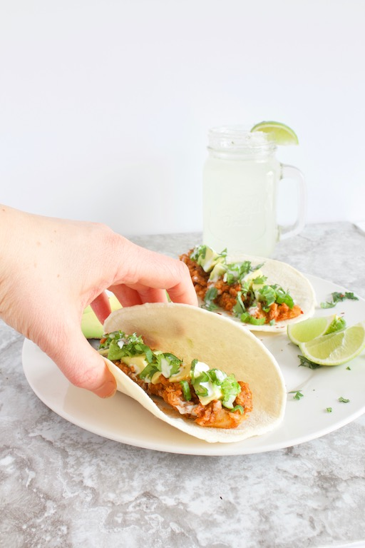Vegan Lentil Cauliflower Tacos -- A simple and healthy plant-based recipe full of fiber, protein, veggies, and flavor! All made in one skillet in under 30 minutes! | @sinfulnutrition #sinfulnutrition #CauliflowerTacoRecipe #VeganTacos