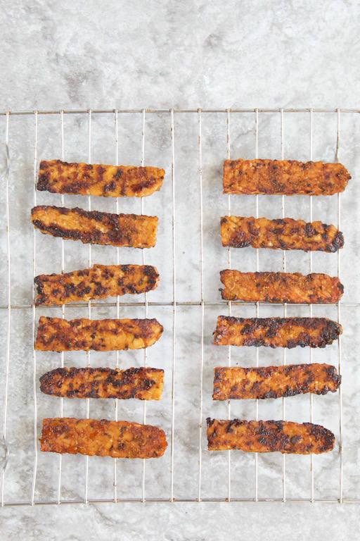 Homemade Tempeh Bacon Overhead