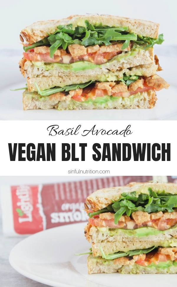 Vegan BLT Sandwich with Text