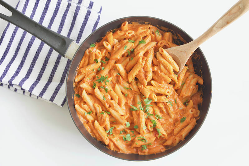 #AD Dairy-Free Penne Vodka -- A #vegan-friendly recipe made with hummus-based sauce instead of heavy cream! This pasta dish is a healthy, fiber, and protein-packed dinner for any night of the week! | #sabra | @sinfulnutrition | #pasta | #dinner | #maindish | #dairyfree | #vegetarian | #hummus | #thereciperedux | @sabradips