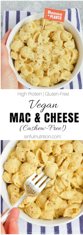 #AD |Vegan Macaroni & Cheese Recipe (Cashew-Free!) -- A #dairyfree and #plantbased mac & cheese #recipe that doesn't require any prep or nuts for a quick & easy healthy #dinner idea that is full of #protein, fiber, and plant power! | @sinfulnutrition | @eatbanza | #glutenfree | #vegan | #vegetarian | #pasta | #macandcheese | #maindish |