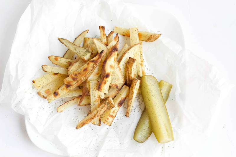 Dill Pickle Baked French Fries Recipe Overhead