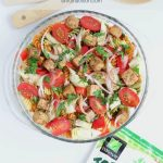 Balsamic Pasta Salad with Tofu with Text