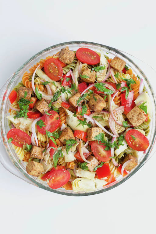 Balsamic Pasta Salad with Tofu Overhead in Bowl