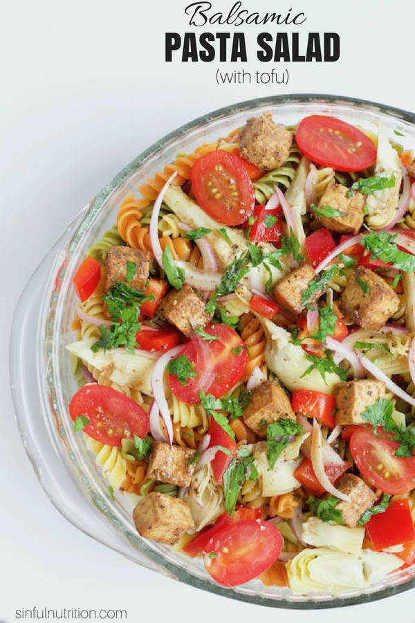 Balsamic Pasta Salad with Tofu with Text Overlay