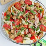 AD: Balsamic Pasta Salad with Tofu -- A classic summer recipe made with sweet and tangy balsamic vinaigrette, tri-color pasta, artichoke hearts, bell pepper, and @nasoya balsamic #tofu. A #vegan friendly side dish for any #cookout or #barbecue!   @sinfulnutrition   #nasoya   #vegetarian   #pasta   #plantbased   #onemoreplant   #sidedish