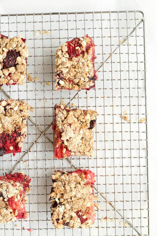 Mixed Berry Oatmeal Bars Recipe overhead on cooling rack