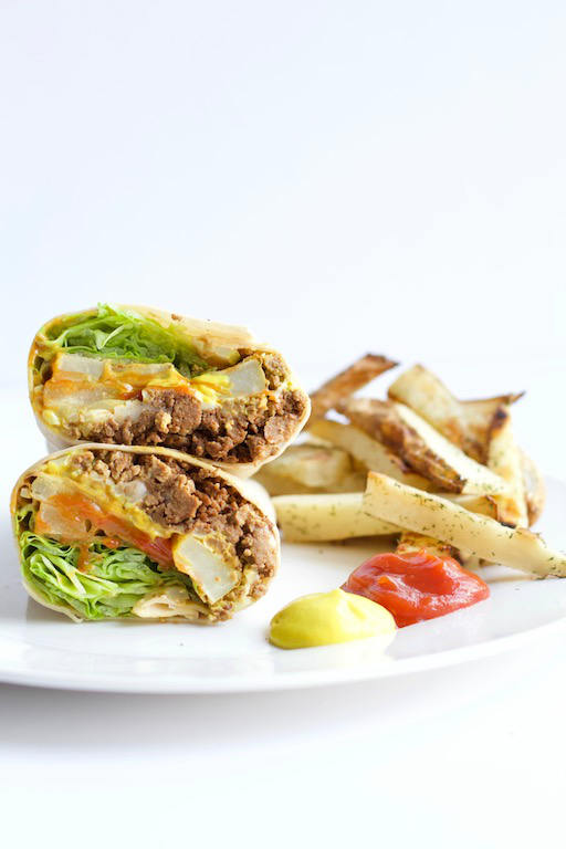 Cheeseburger Burrito Recipe -- Everything you know and love about a #burger wrapped up in a flour tortilla, #fries included! | #cheeseburger | #burrito | #recipe | #dinner | #lunch | @sinfulnutrition