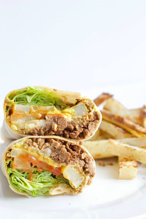 burger burrito with french fries on plate