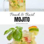 Basil Peach Mojito Recipe Collage with Text