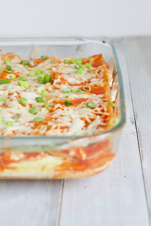 Buffalo Chicken Lasagna in Glass Pan
