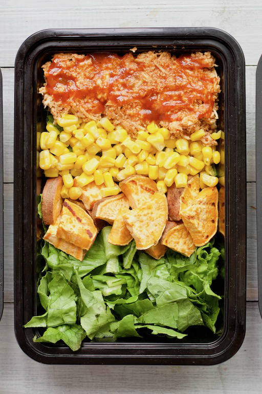 BBQ Chicken Salad in Black Meal Prep Container