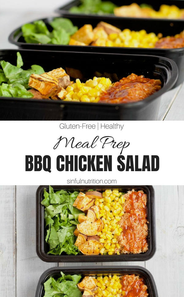 Meal Prep BBQ Chicken Salad Bowls -- A quick and easy meal to prep for the week ahead! Makes for a satisfying lunch or light dinner | @sinfulnutrition | #sinfulnutrition | #mealprep | #chicken |#healthy | #salad | #healthymeal | #healthylunch | #BBQChicken