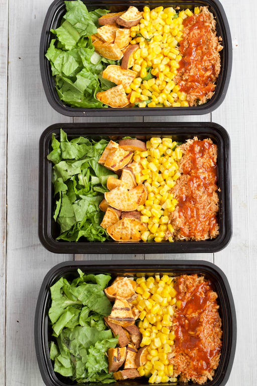 Containers of Meal Prep BBQ Chicken Salad