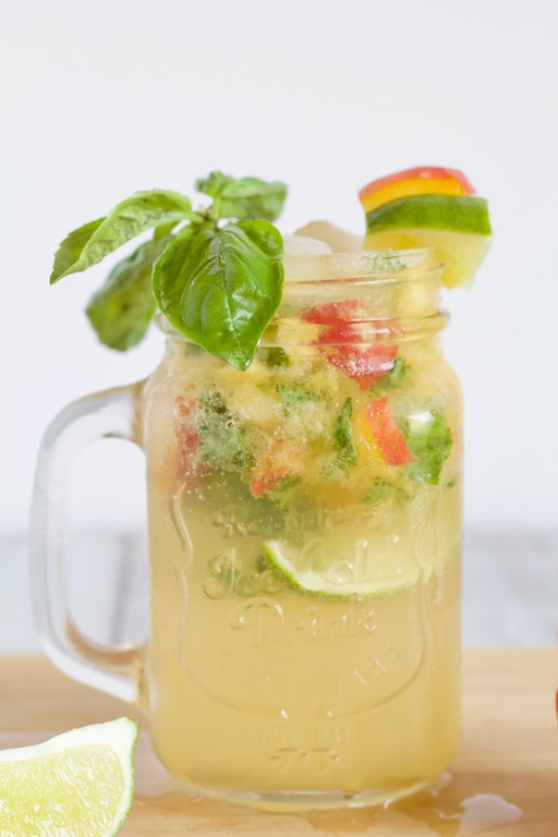 Basil Peach Mojito in Glass Cup
