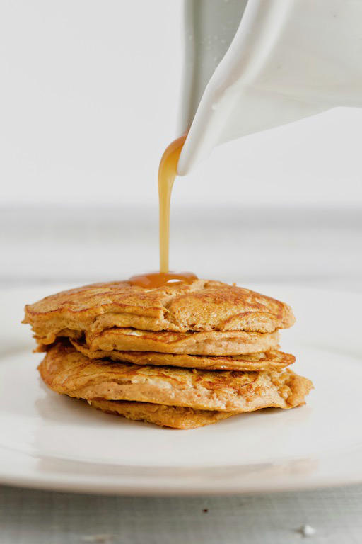 2 ingredient pumpkin pancake recipe with syrup pour