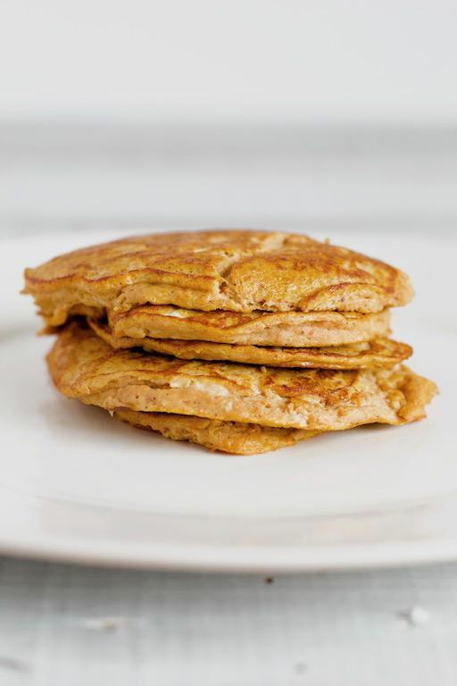 2 ingredient pumpkin pancake recipe stacked