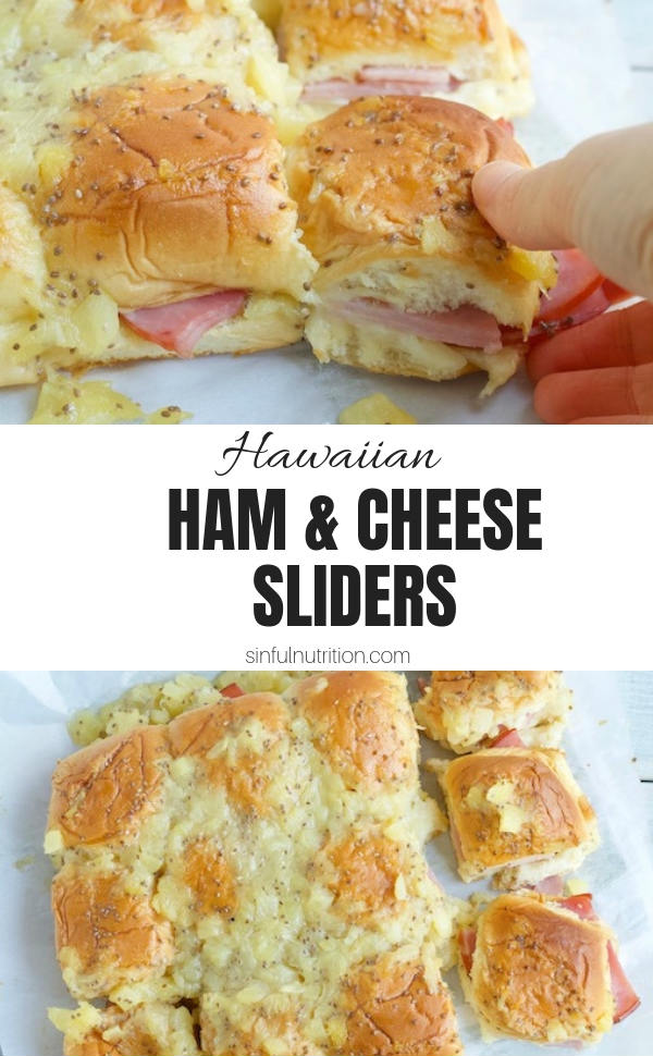 AD: These Hawaiian Ham and Cheese Sliders made with a sticky sweet pineapple glaze is a must-make appetizer. Be everyone's favorite person for game day! | @sinfulnutrition | #sinfulnutrition | #gameday | #hamsliders | #appetizers | #partyfood | #itsfrickingood | #fricks | #smokedmeats | #hamandcheese