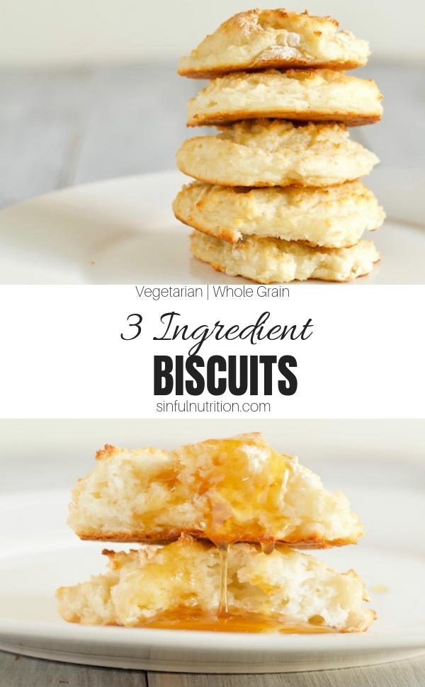 These healthy three ingredient biscuits are the easiest biscuits you will ever make! They take just 30 minutes from start to finish, and turn out super soft and fluffy! | @sinfulnutrition | #sinfulnutrition | #biscuits | #biscuitrecipe | #healthybiscuits | #easybiscuits | #easybiscuitrecipe | #greekyogurtbiscuits