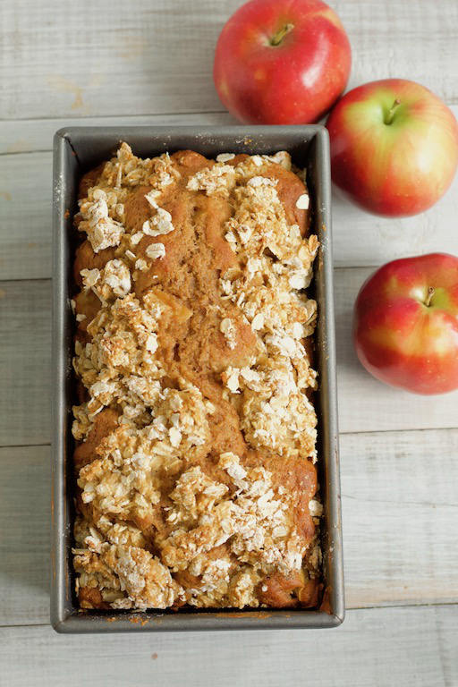 Easy apple bread recipe in loaf pan overhead