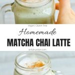 Homemade Matcha Chai Latte Collage with Text