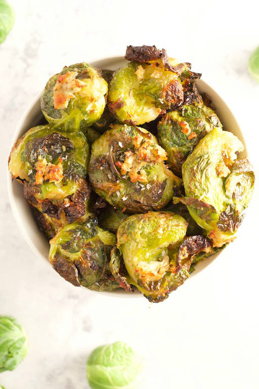 Garlic Parmesan Smashed Brussels Sprouts Overhead in Bowl