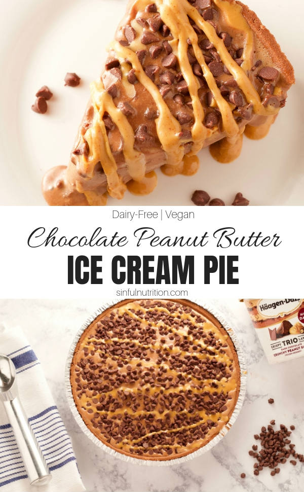 AD | This Chocolate Peanut Butter Ice Cream Pie takes just 4 simple ingredients and 10 minutes to make! A non-dairy dessert, made with Häagen-Dazs Crunchy Peanut Butter Non-Dairy Trio Crispy Layers Frozen Dessert, that everyone can enjoy for the holidays. | @sinfulnutrition