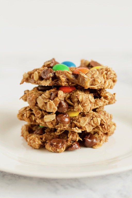 Healthy Monster Cookies Stacked