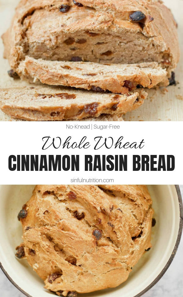 An easy Homemade Whole Wheat Cinnamon Raisin Bread Recipe made with just 4 simple ingredients, no added sugars, and no kneading required! | @sinfulnutrition #sinfulnutrition #dutchovenbreadrecipe #nokneadbread #cinnamonraisin