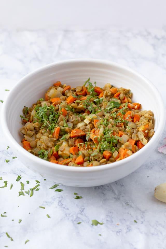 French Lentil Salad Recipe in White Bowl