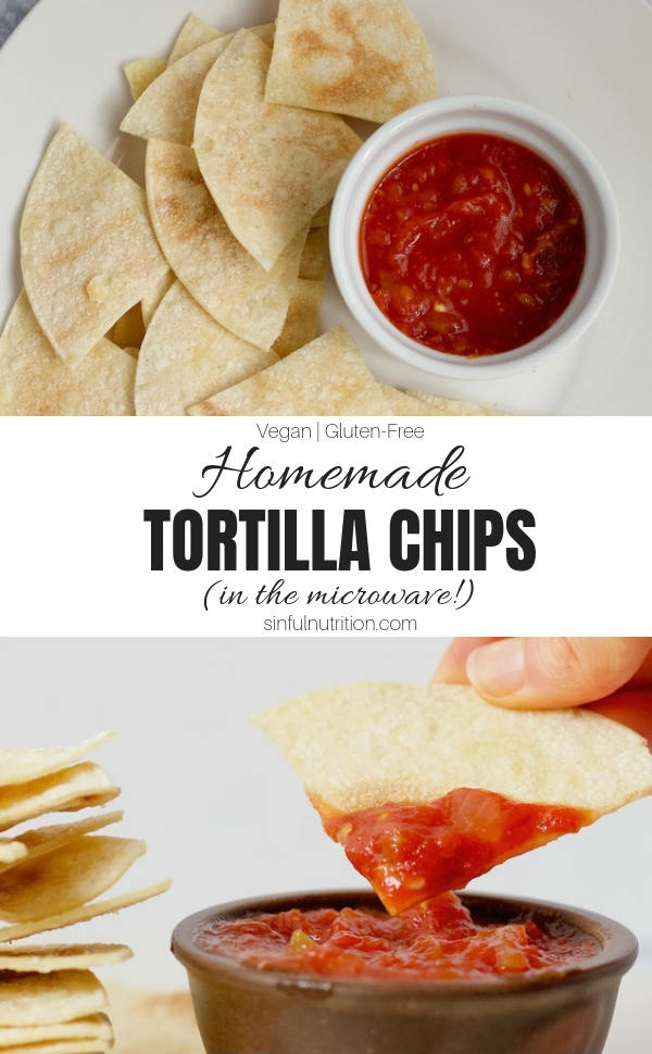 How to make homemade tortilla chips right in the microwave! All you need is 3 simple ingredients for a quick & healthy snack made in less than 5 minutes! | @sinfulnutrition #sinfulnutrition #CornTortillaChipsRecipe #GlutenFreeTortillaChipsRecipe