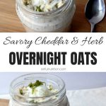Cheddar & Herb Savory Overnight Oats Collage with Text Overlay