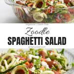 Zucchini Noodle Spaghetti Salad Recipe Collage with Text