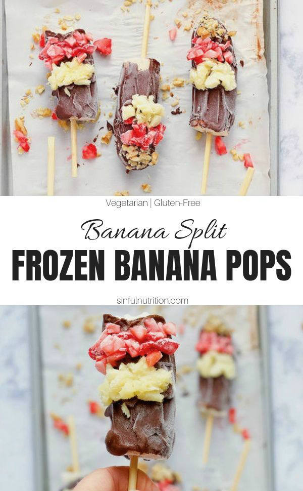 A recipe for healthy frozen banana pops that taste just like a banana split! Made with only 6 simple ingredients, and is a summer desserts for kids of all ages | @sinfulnutrition #sinfulnutrition #BananaPopsicles #FrozenBananas