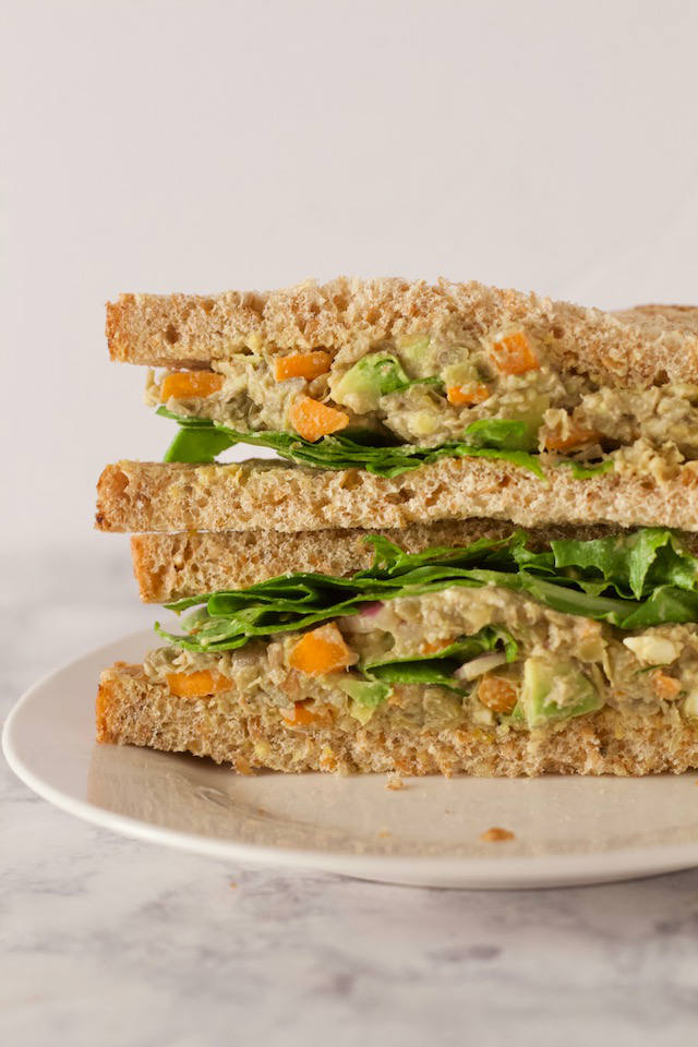 Smashed Lentil Salad Recipe Sandwich Stacked on Plate