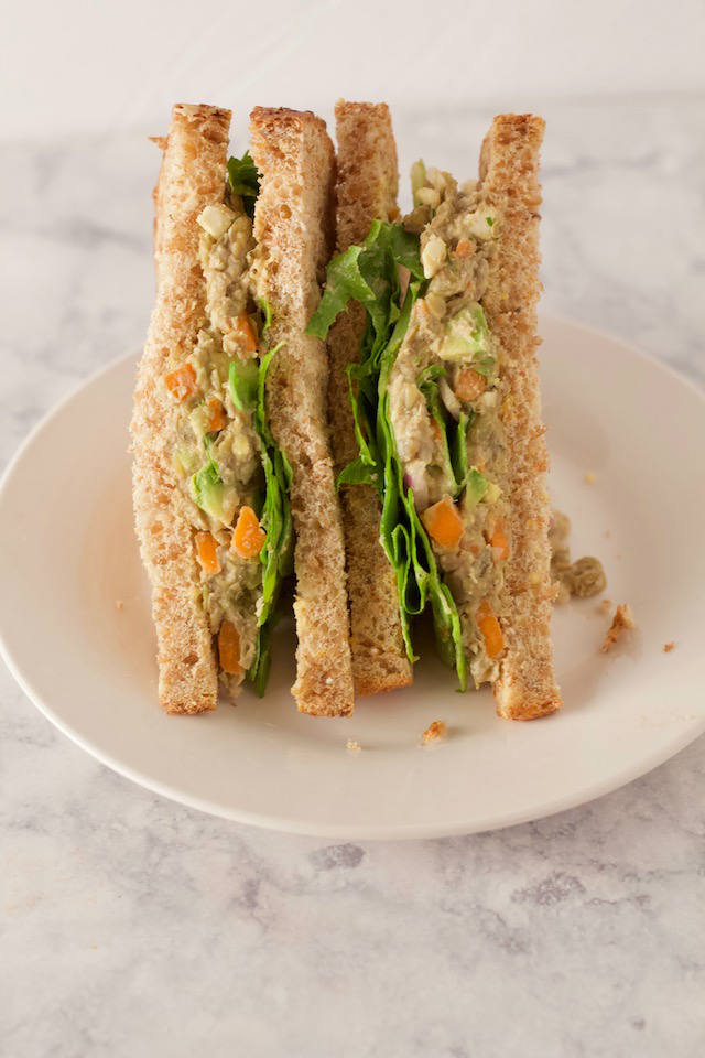Smashed Lentil Salad Sandwich on Plate