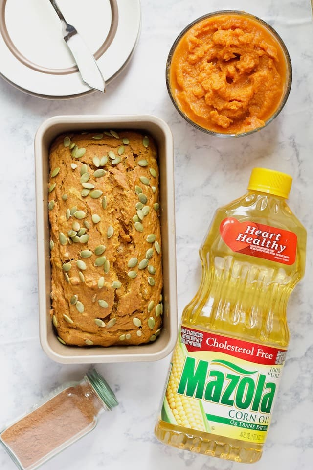 Easy Pumpkin Bread in Loaf Pan with Ingredients