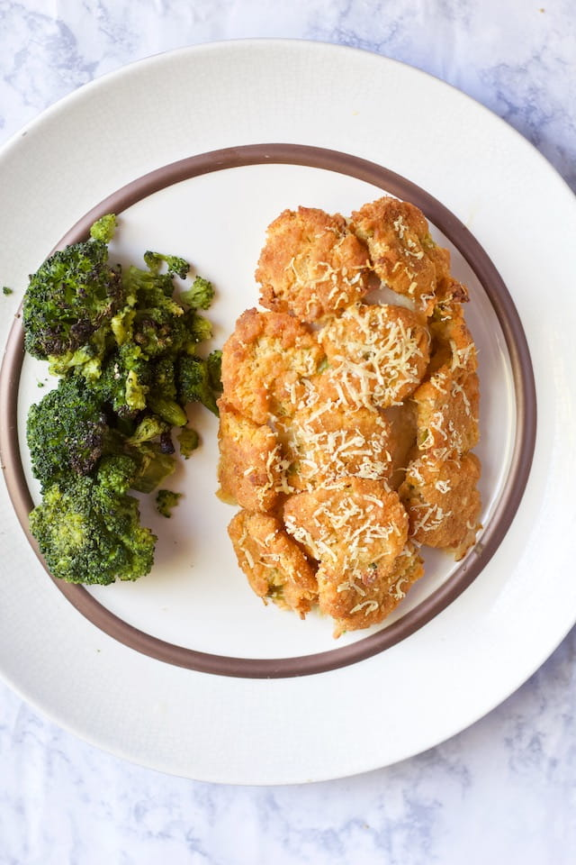 Potato Crusted Chicken Recipe on Plate with Broccoli