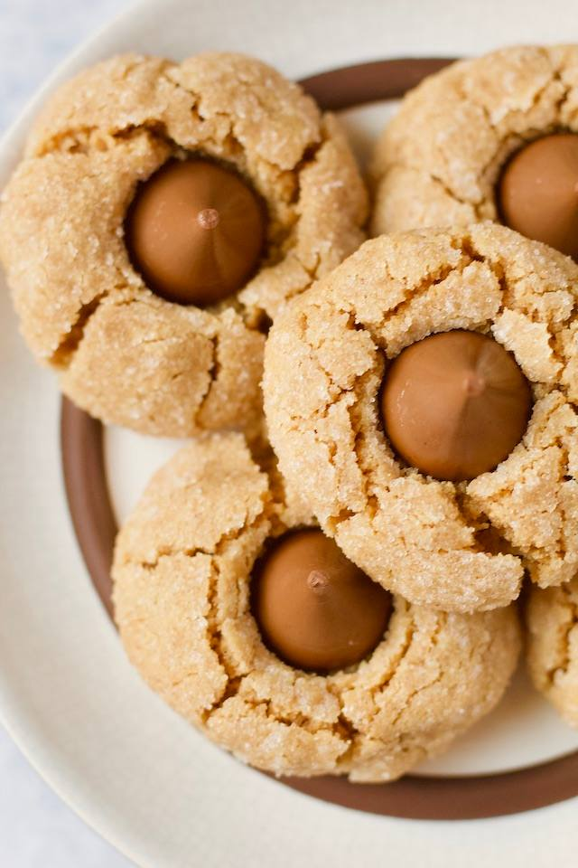 Overhead Plate of Peanut Butter Blossom Cookies