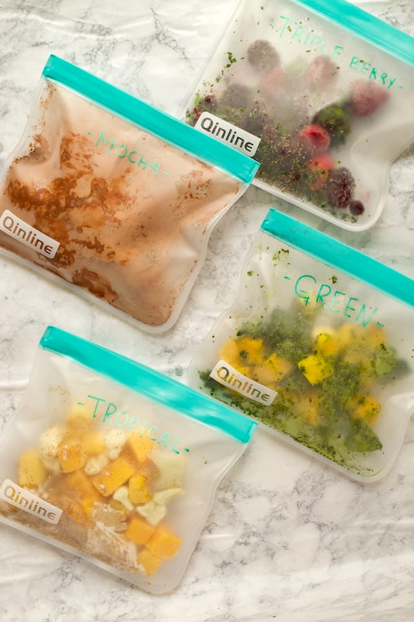 Make Ahead Frozen Smoothie Packs Overhead