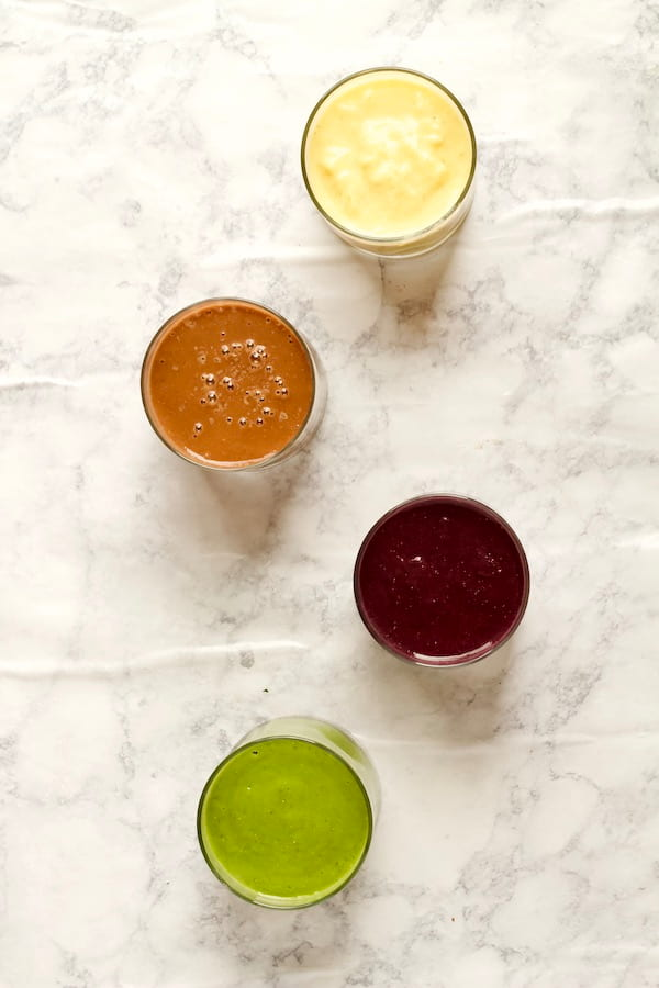 Frozen Smoothie Packs Flavors in Glasses