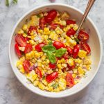 Summer Corn and Tomato Salad in Bowl Overhead