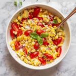Summer Corn and Tomato Salad with Text Overlay