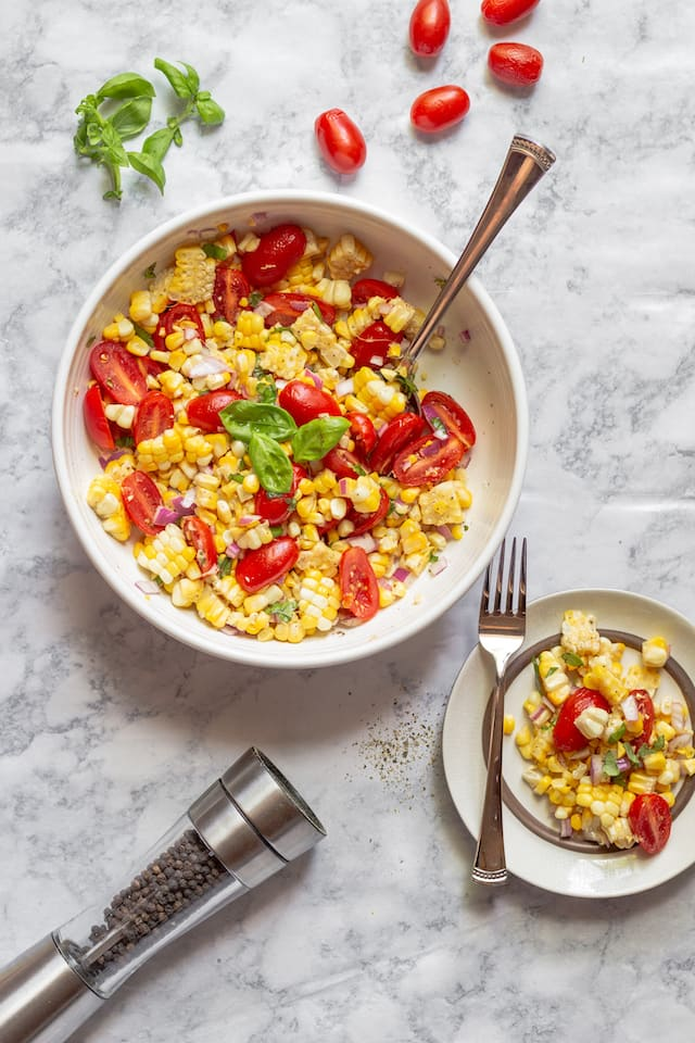 Summer Corn and Tomato Salad Overhead Flat lay