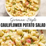 German Style Cauliflower Potato Salad Collage with Text