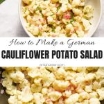 German Style Cauliflower Potato Salad Collage with Text Overlay
