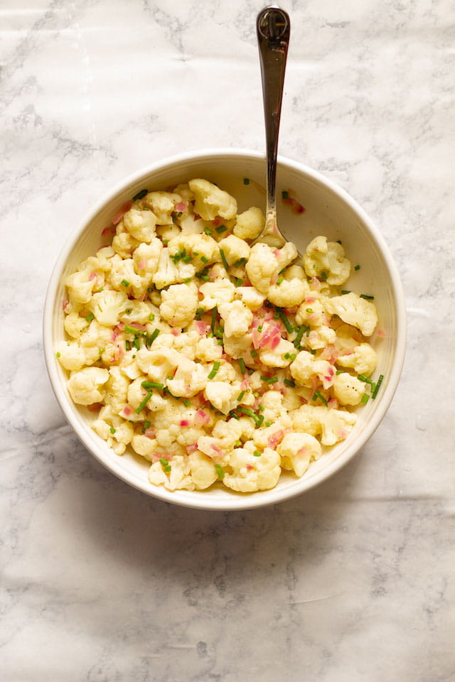 German Style Cauliflower Potato Salad Overhead
