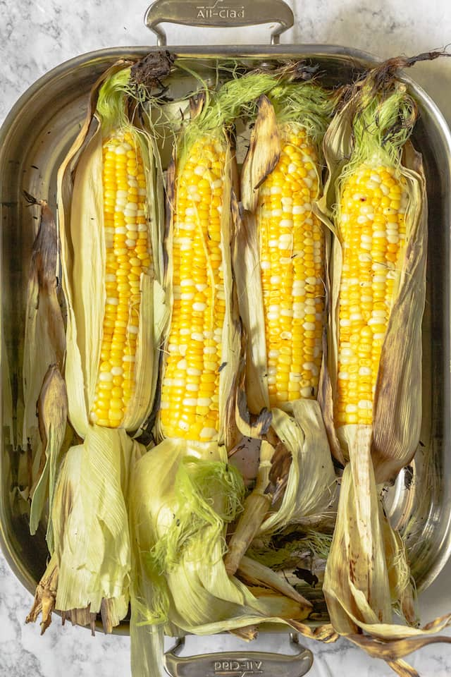 How to Grill Corn in the Husk in pan