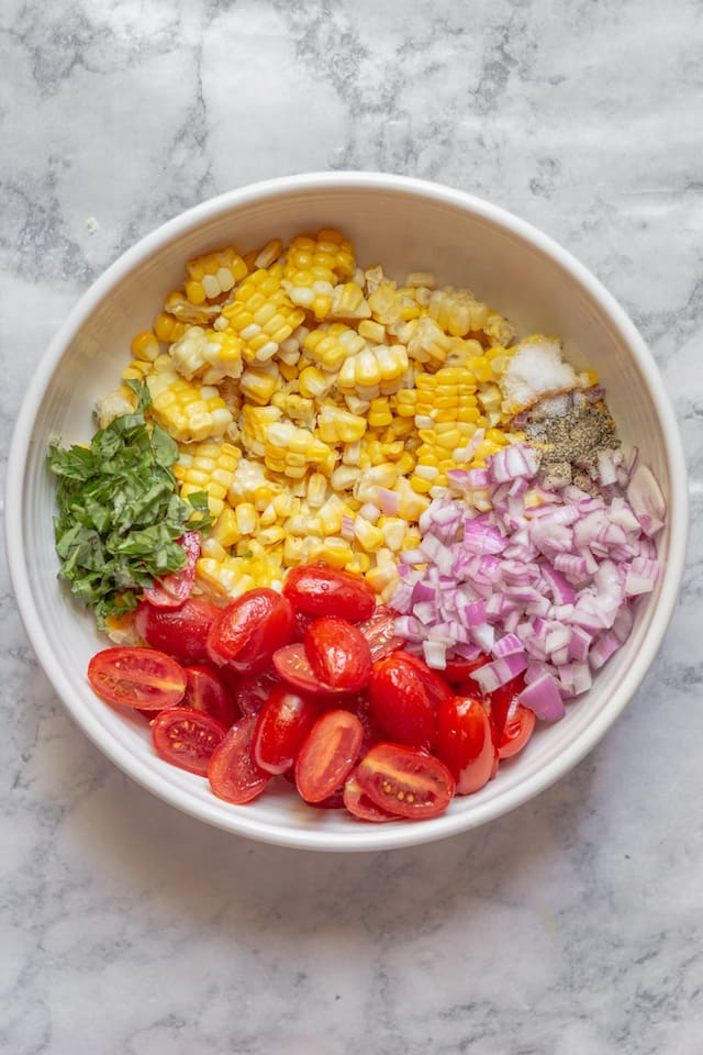 Summer Corn and Tomato Salad Ingredients in Bowl